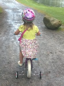 Grace on bike